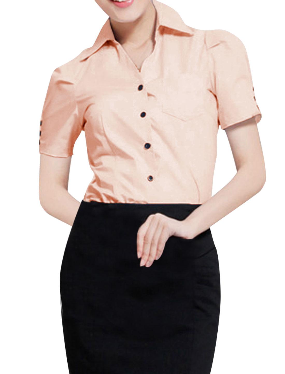 Fashion Women Point Collar Short Sleeve Shirt Pink L