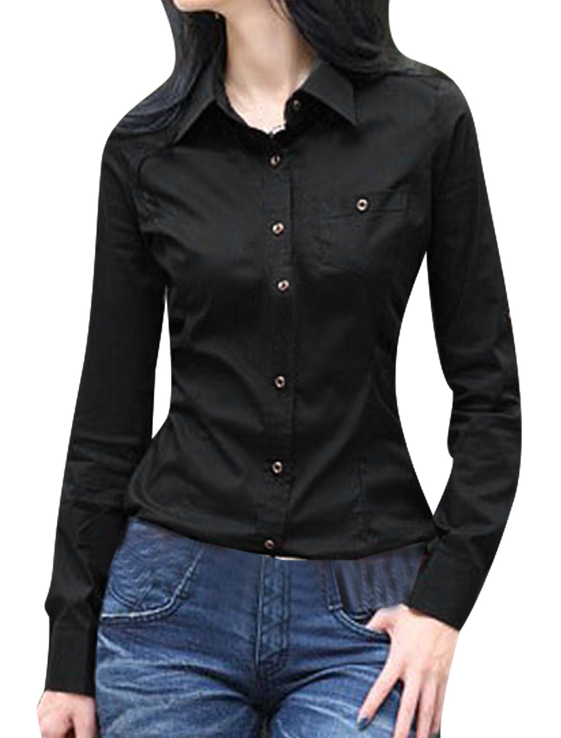 Lady Black Point Collar Roll Up Sleeve Button Down Round Hem Shirt XS