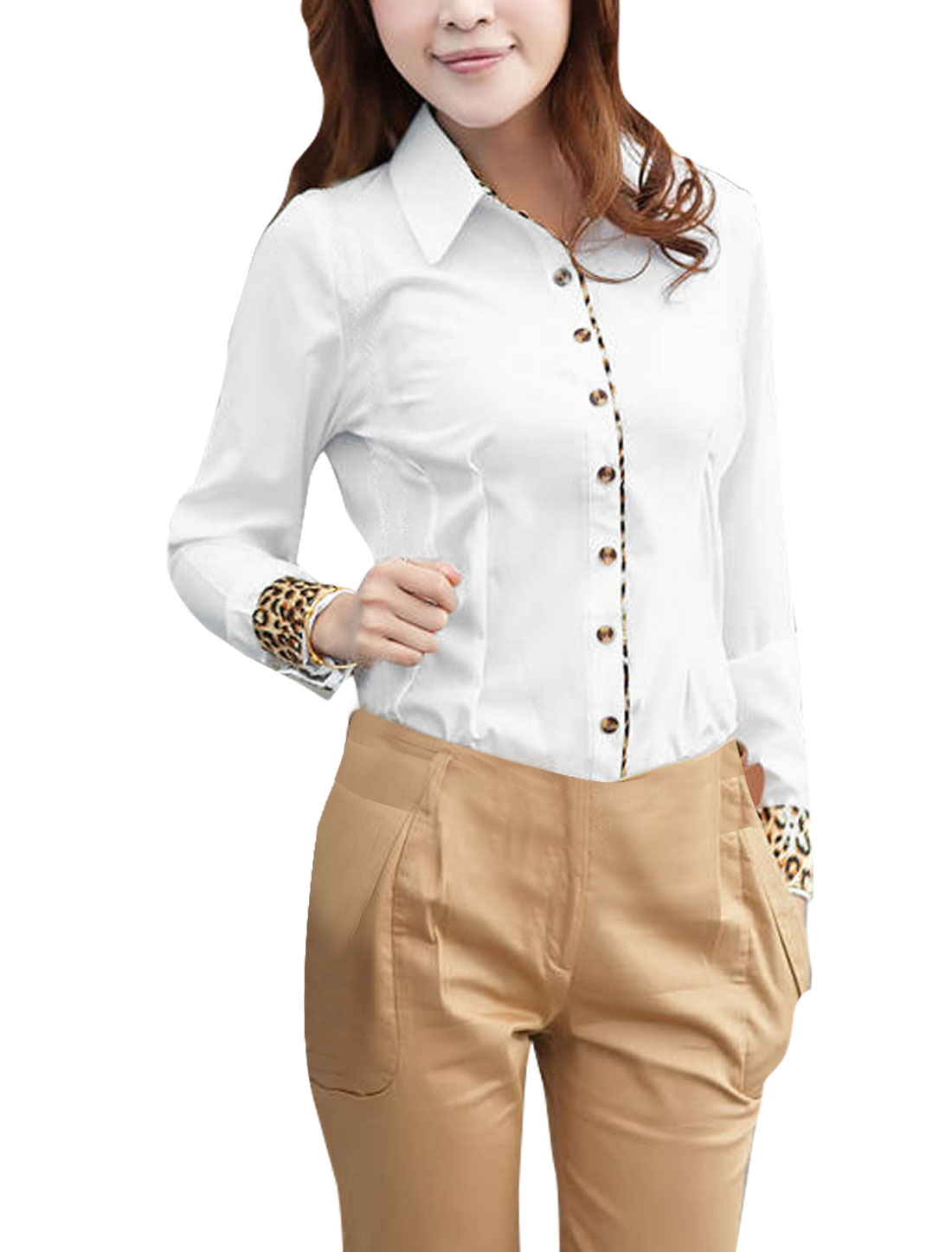 Women Point Collar Leopard Pattern Long Sleeve Round Hem Shirt L White