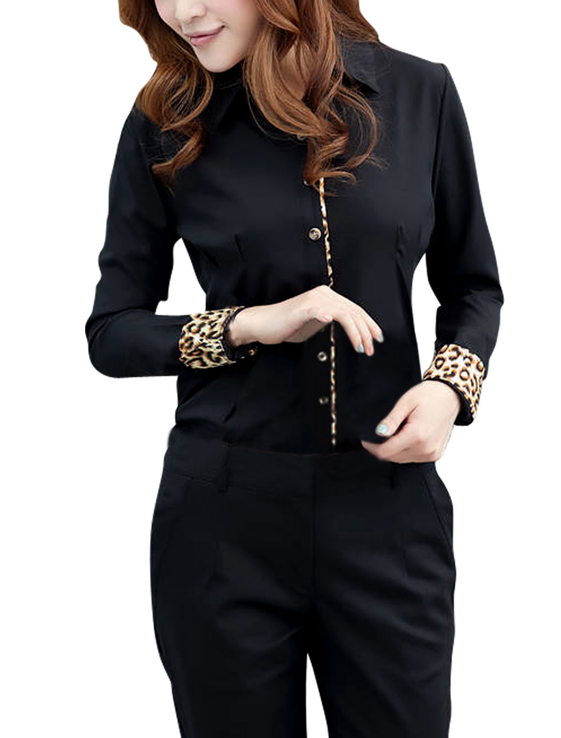 XS Black Point Collar Skinny Fit Style Button Closure Casual Shirt for Ladies