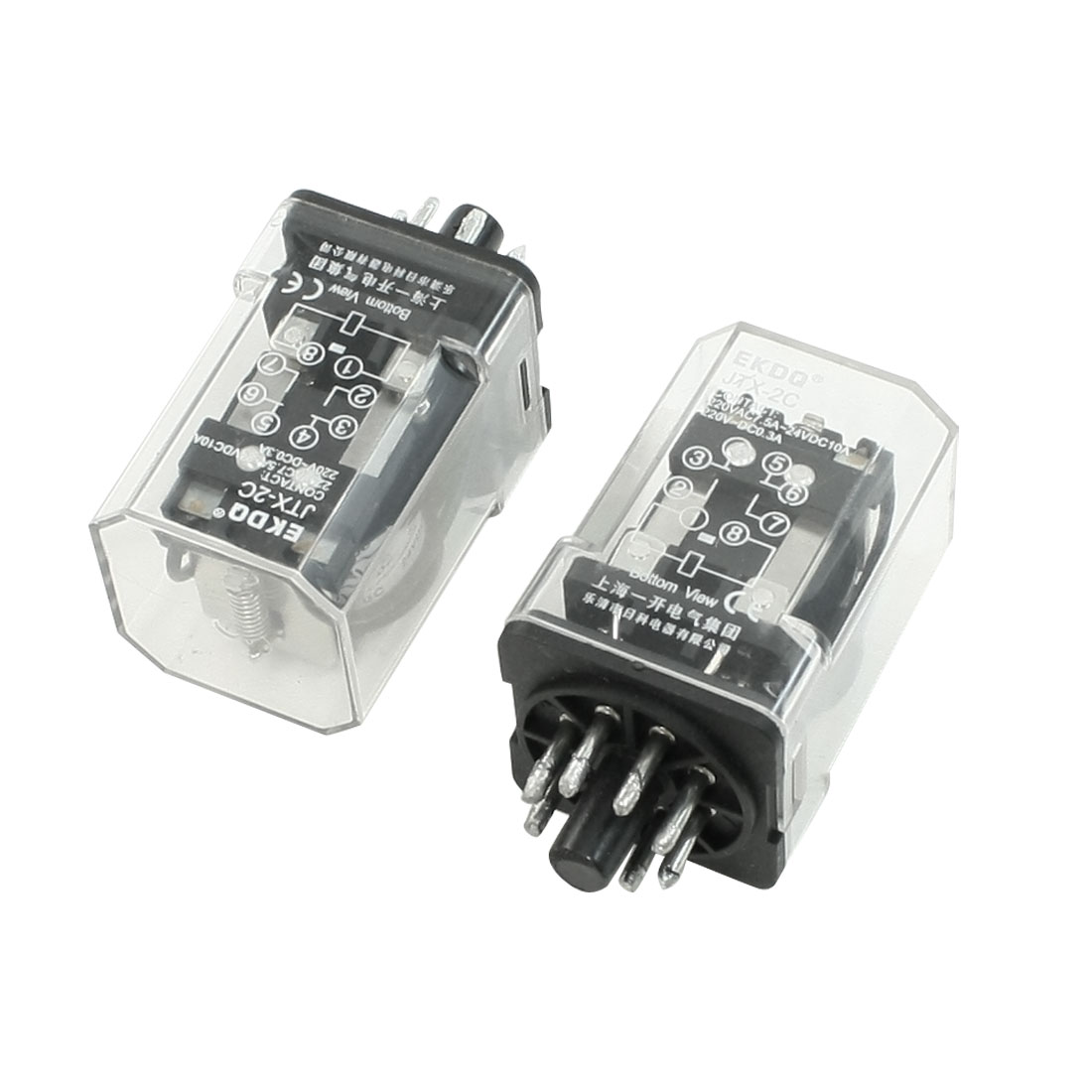 Pair Plastic Housing JTX-2C DC 24V Coil DPDT Power Relay 8 Flat Pins