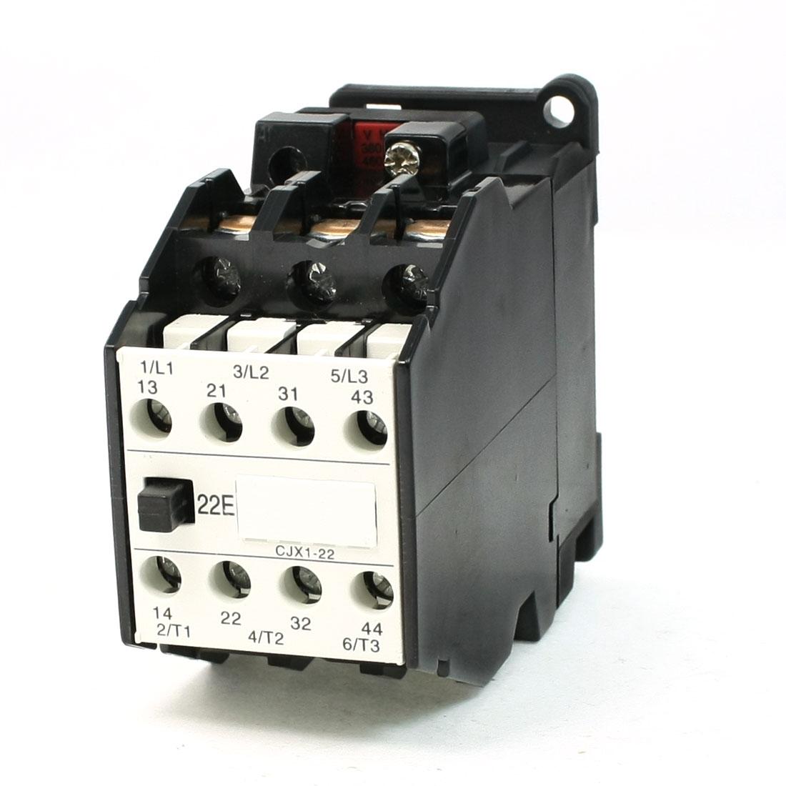 380V Coil Motor Controler AC Contactor 3 Pole 2NO+2NC 660V 31.5A CJX22/22