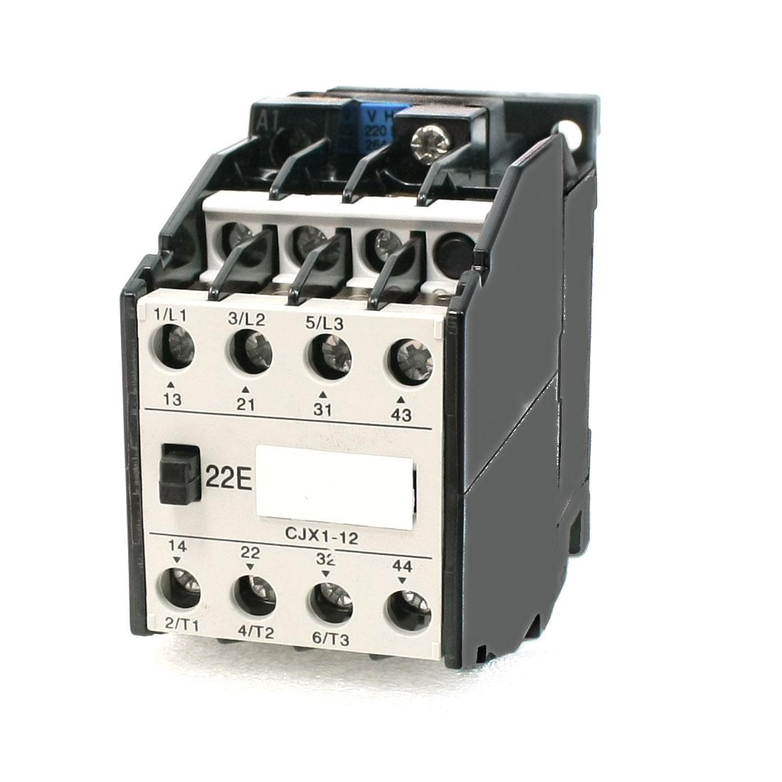 220V Coil Motor Controler AC Contactor 3 Pole 2NO+2NC 660V 20A CJX1-12/22