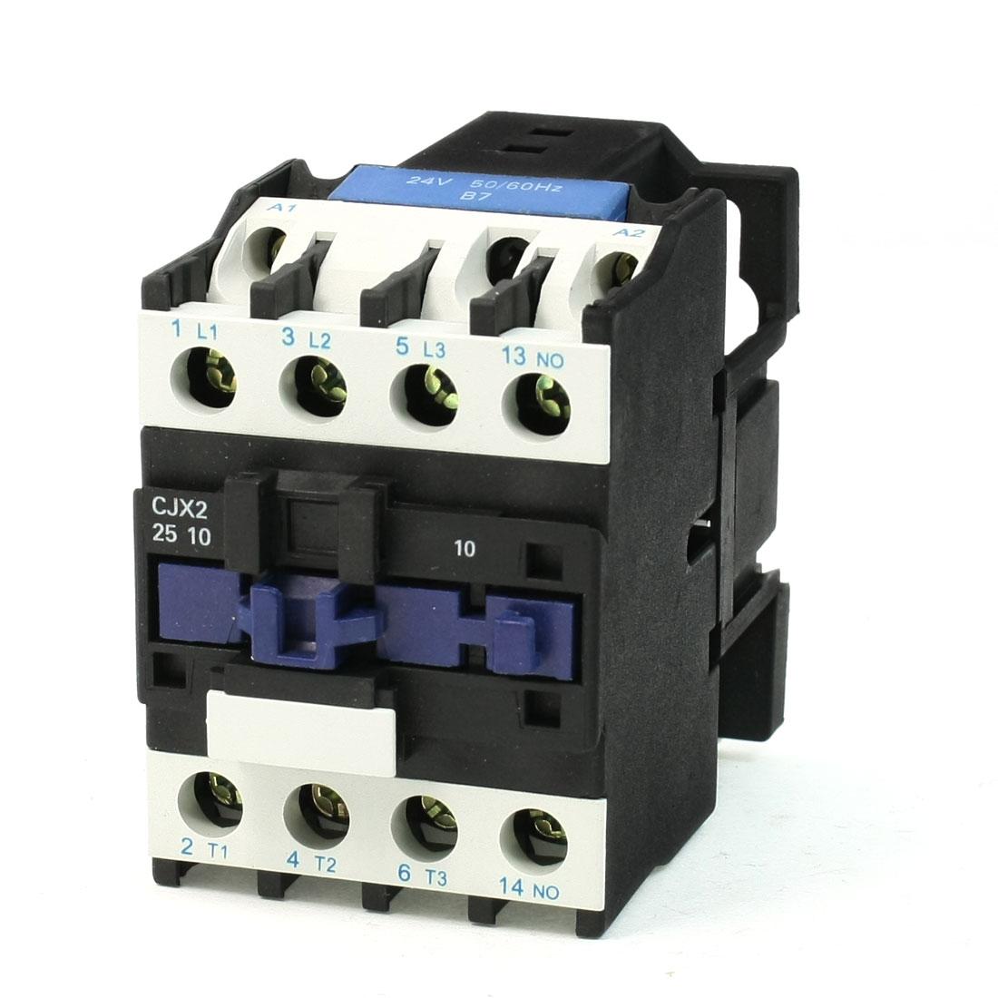 50/60Hz 660V 40A 35mm DIN Rail 3P + NO 24V Coil AC Contactor CJX2-2510