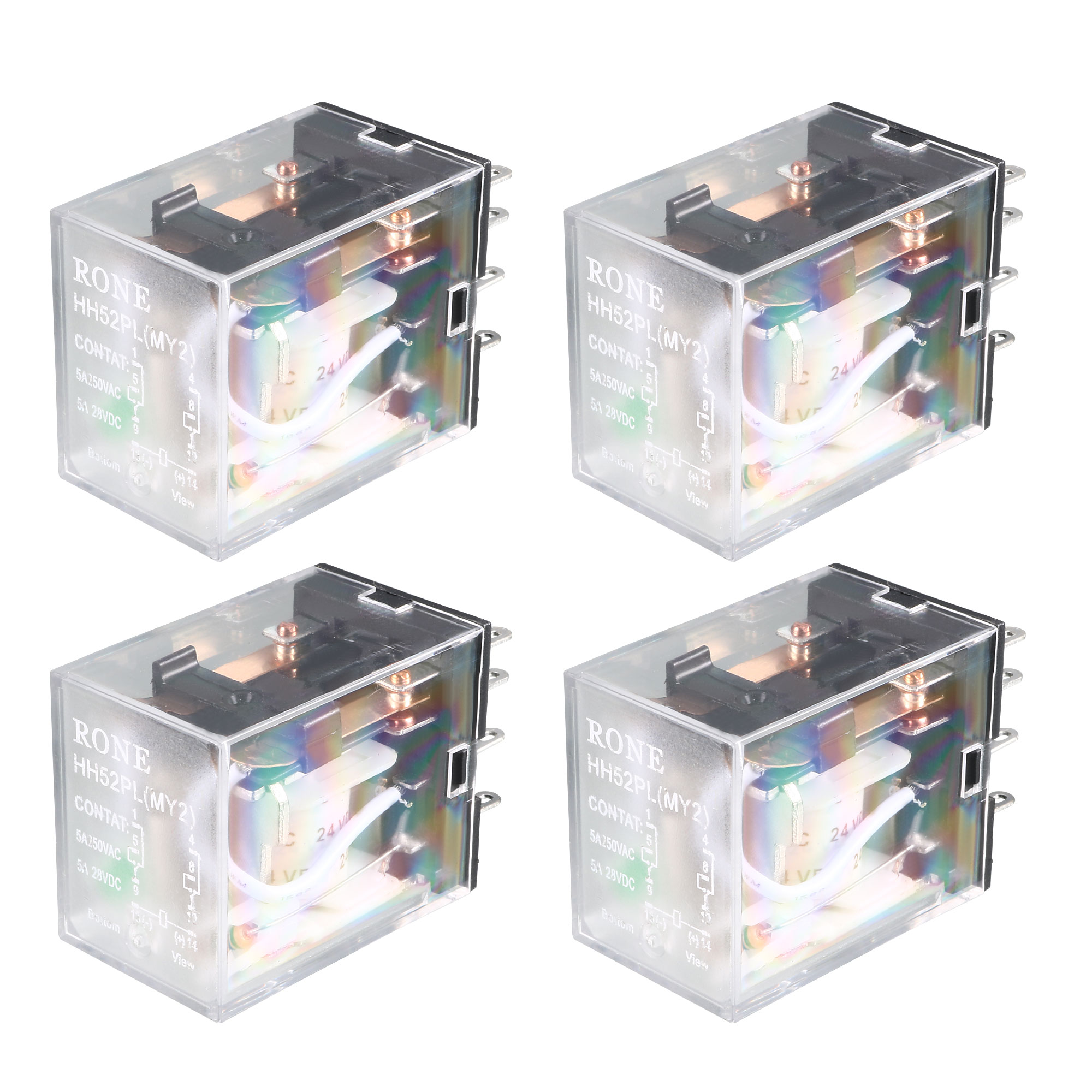 HH52P DC 24V Coil DPDT 2NO 2NC 8P General Purpose Power Relay 4 Pcs