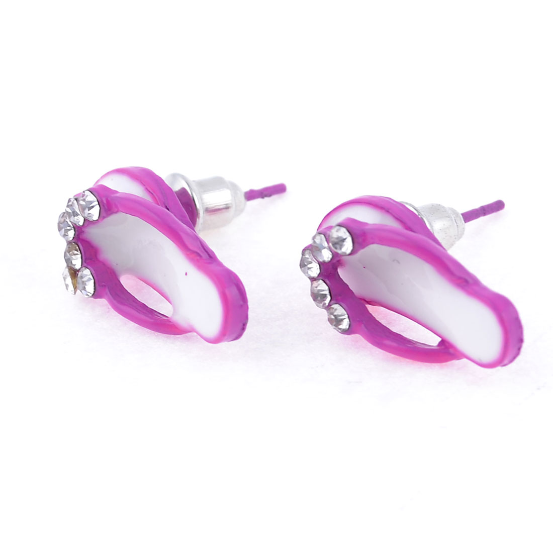 2Pcs Rhinestone Detail Slipper Ear Decor Stud Earrings Pink for Women