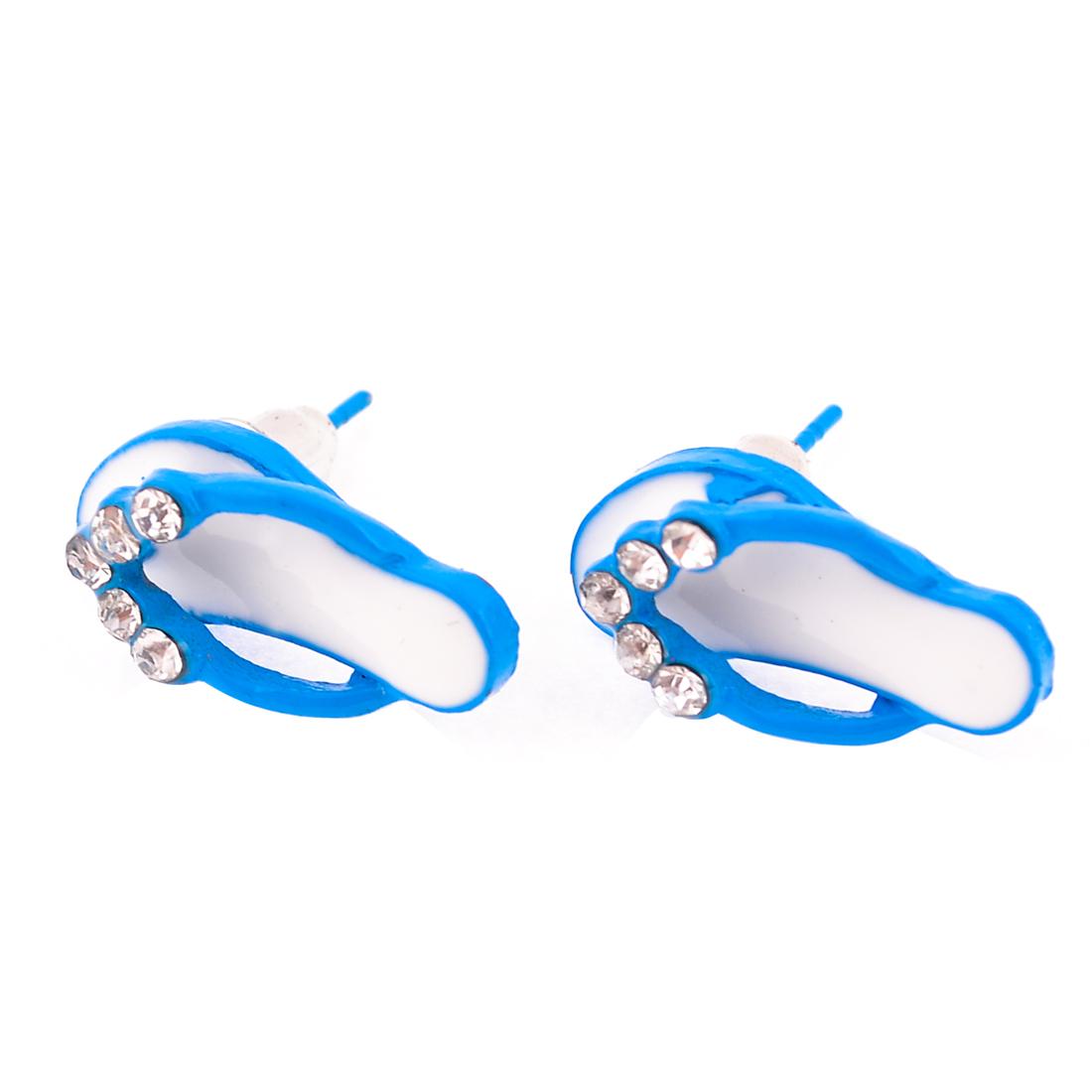 Lady Slipper Shape Alloy Ear Stud Earrings Blue Pair