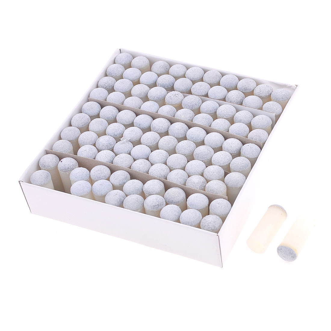 Gray White Plastic 10mm Dia Cylinder Design Billiards Stick Tip 100 Pcs