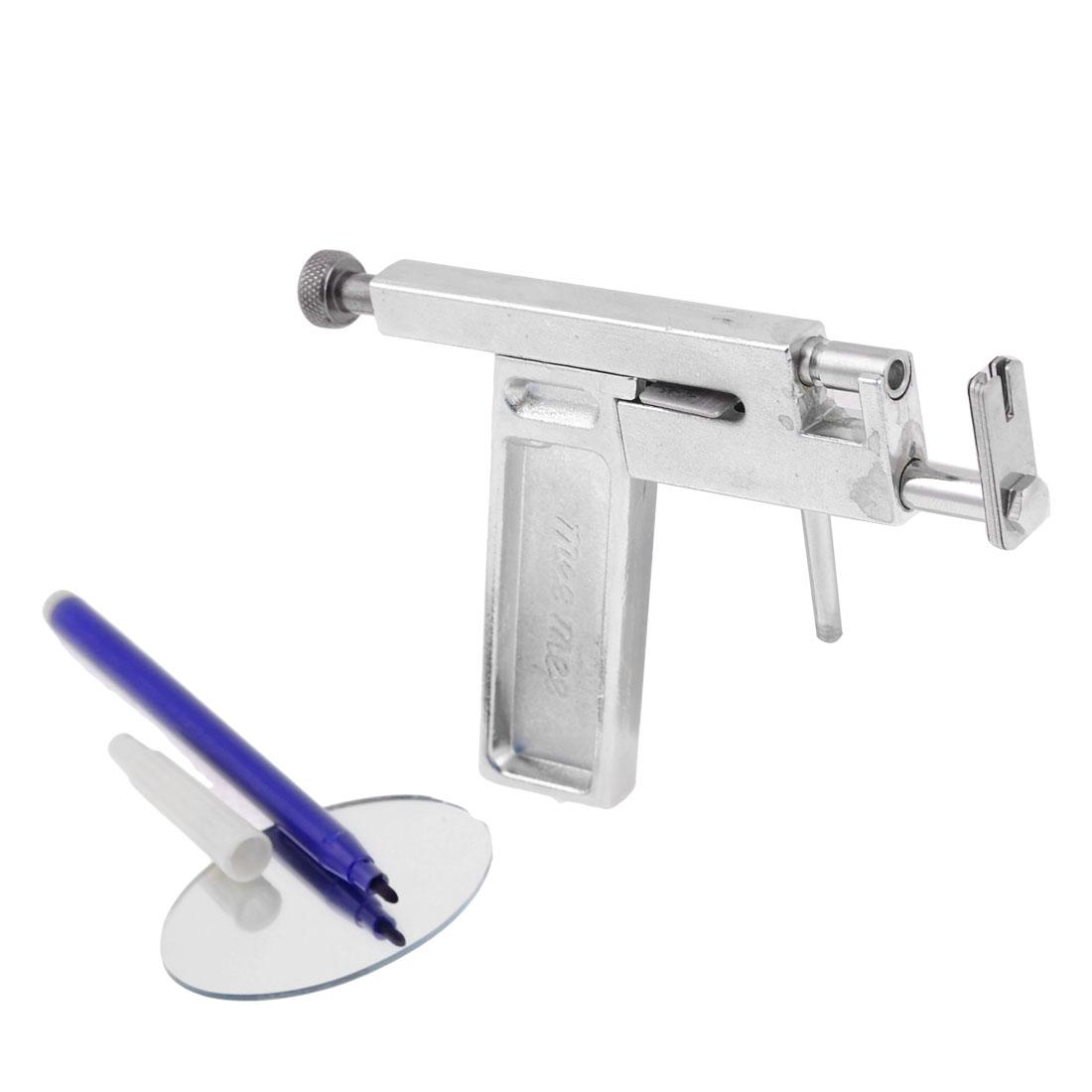 Metal Ear Lips Nose Navel Body Ring Hole Piercing Gun w Pen Silver Tone
