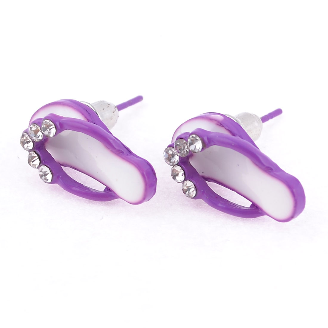 Women Slipper Design Metal Ear Stud Earrings Purple White Pair