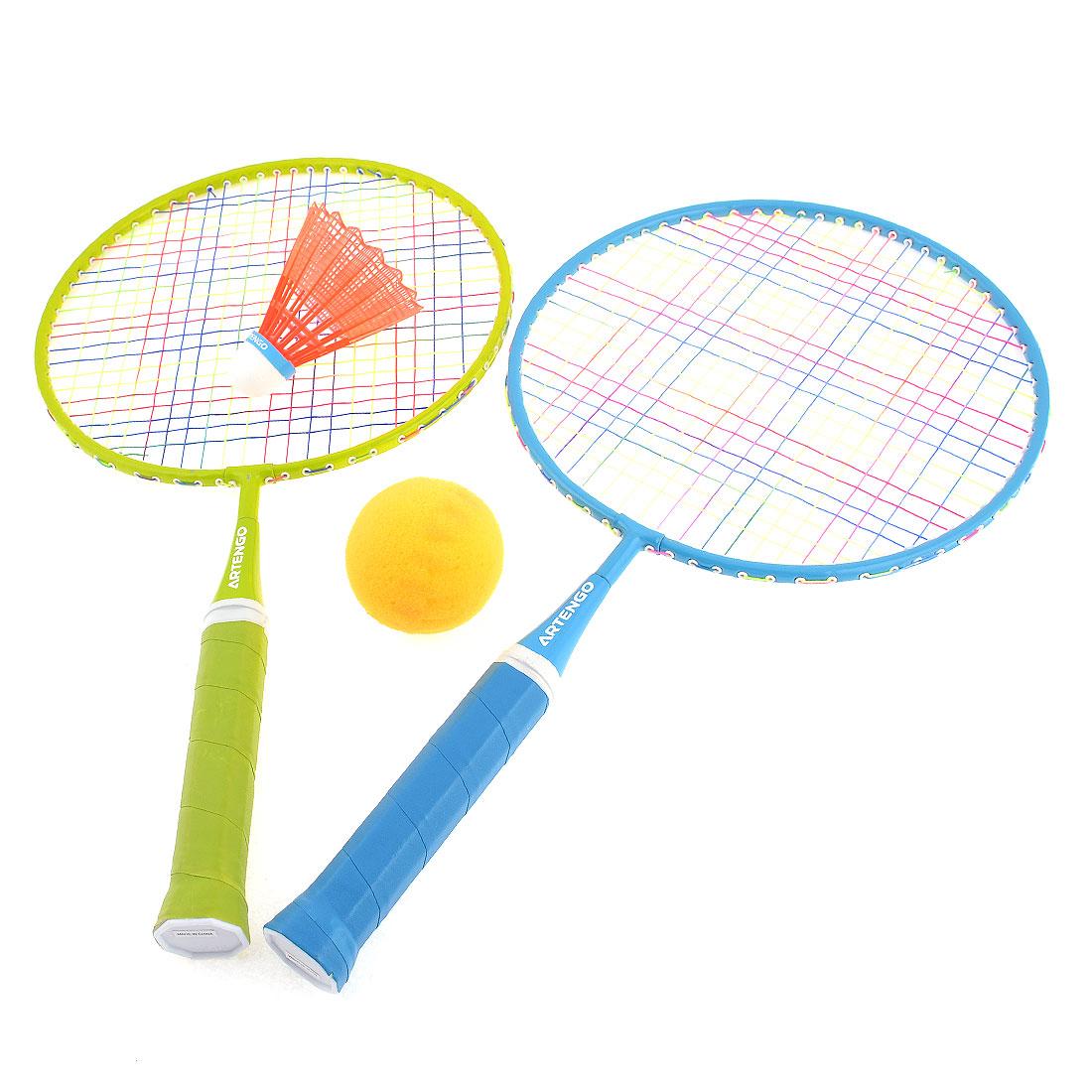 Pair Nonslip Handle Metal Frame Badminton Rackets w Shuttlecock