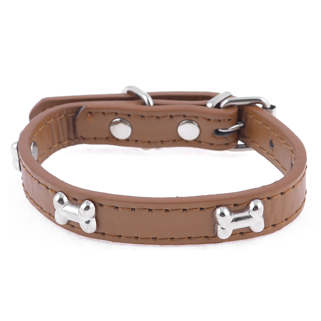 1.4cm Width Brown One Pin Adjustable Faux Leather Bone Accent Pet Neck Collar