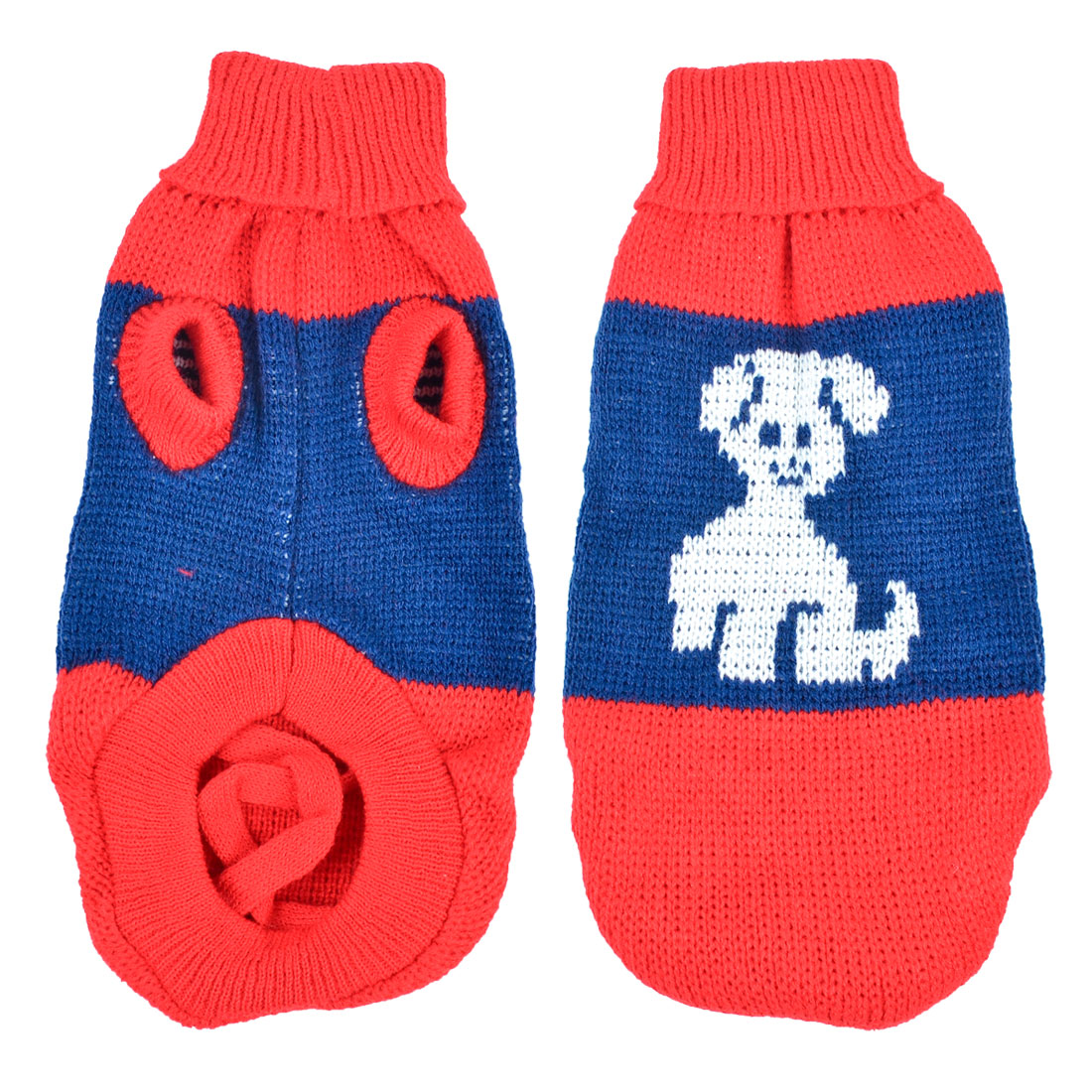 Warm Turtleneck Dog Print Knitted Coat Chihuaha Dog Sweater Clothes Red Blue M