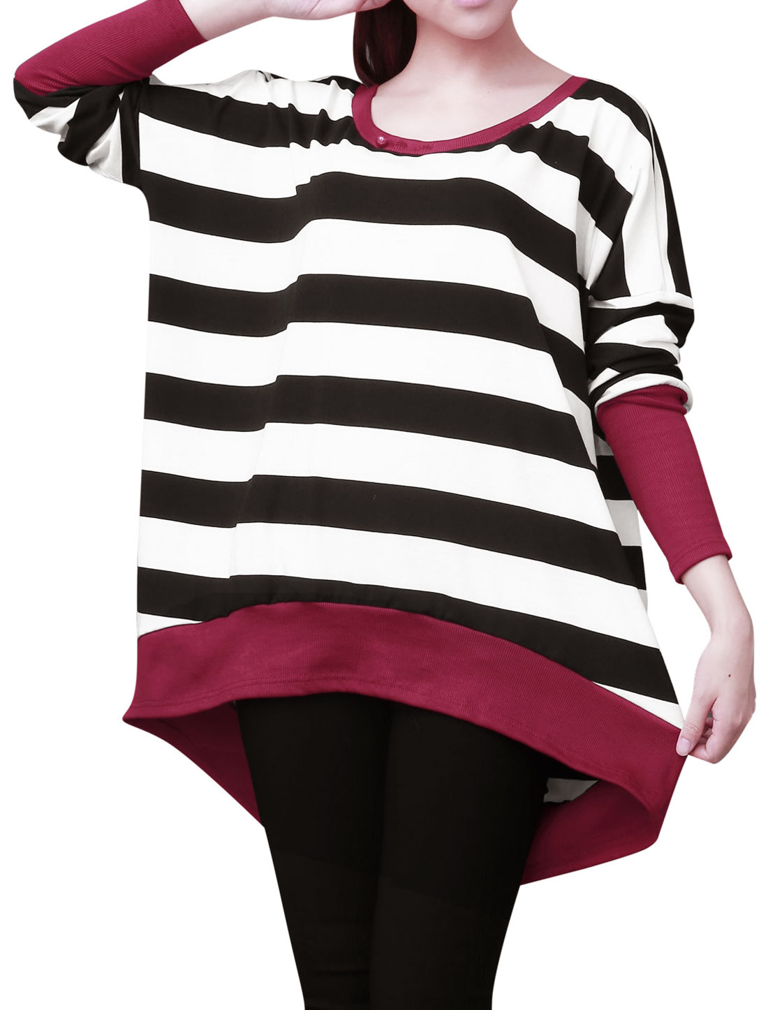 Ladies Chci Boat Neck Long Batwing Sleeve Black White Tops XS