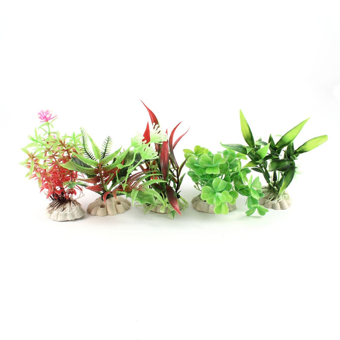 Aquarium Multi Type Green Pink Dark Red Plastic Grass Ornament 5 Pcs
