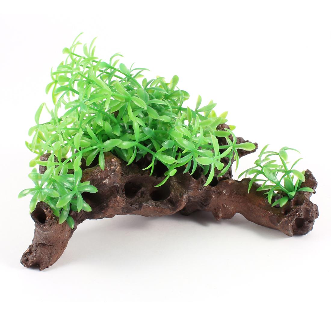 "3.5"" High Green Grass Resin Rockwork Underwater Ornament for Aquarium"