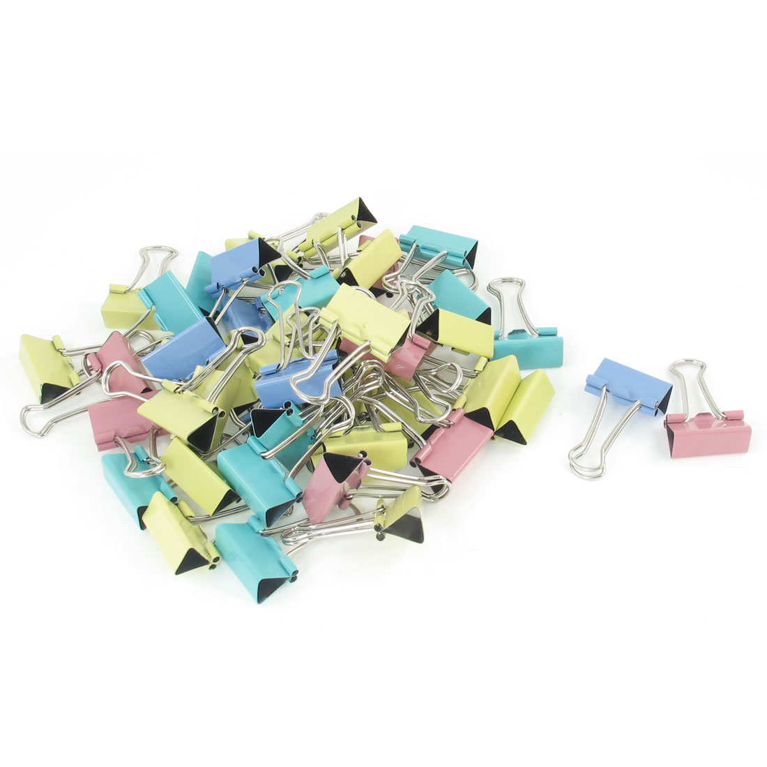 48 Pcs School Office 4 Colors Paper Document Metal Binder Clips