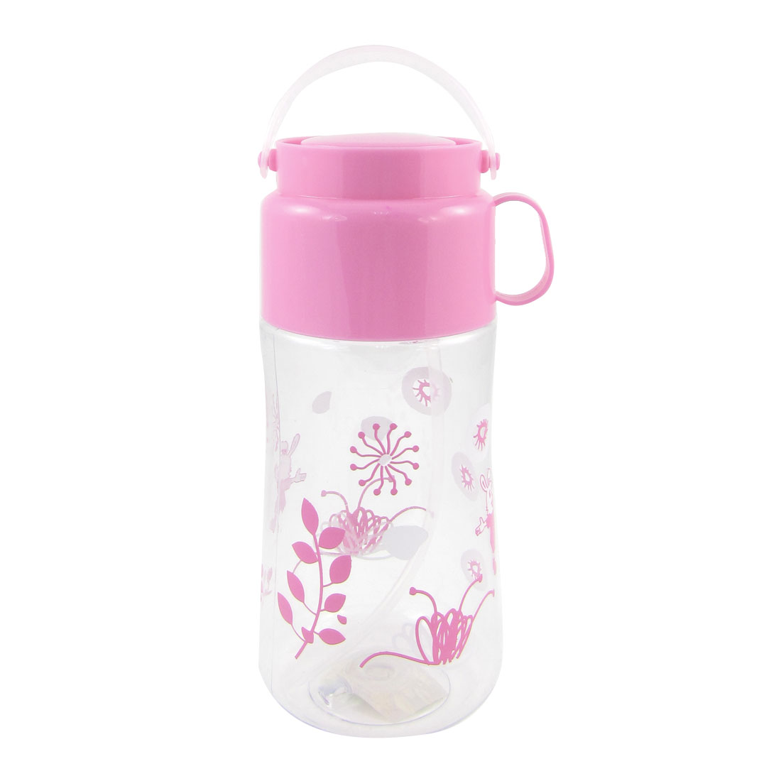 Camping Travel Cylinder Shape Plastic Clear Pink Water Bottle Holder 550ml