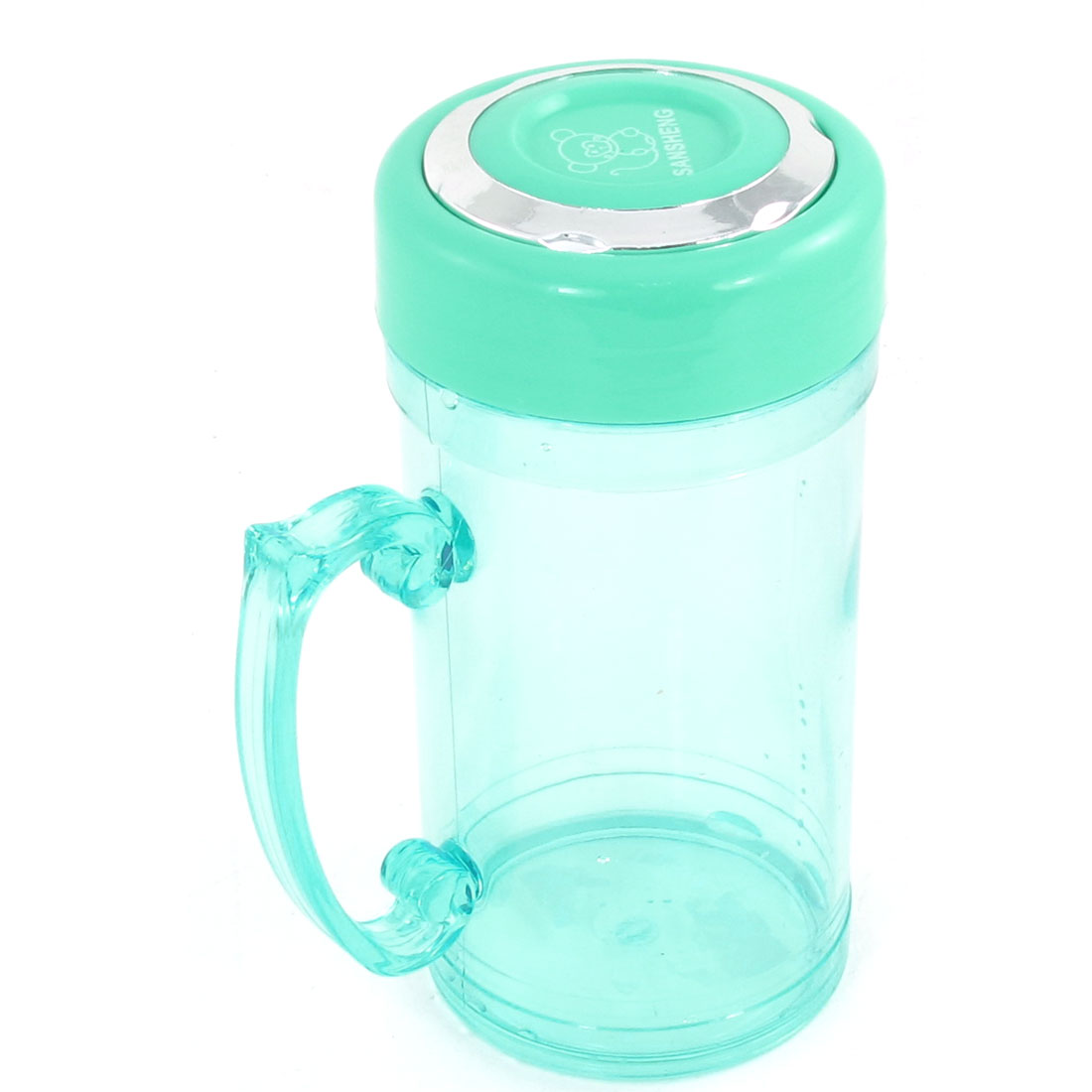 390ml Plastic Portable Handle Tea Vacuum Bottle Cyan for Students