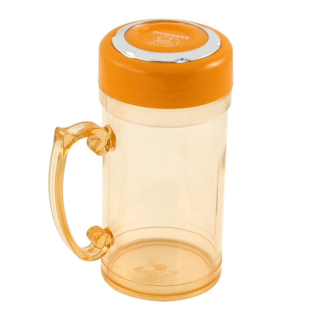 390ml Plastic Portable Handgrip Orange Lid Sports Water Cup