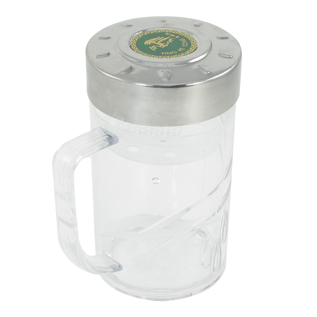 400ml Portable Silver Tone Cap Clear Plastic Water Bottle Container Holder