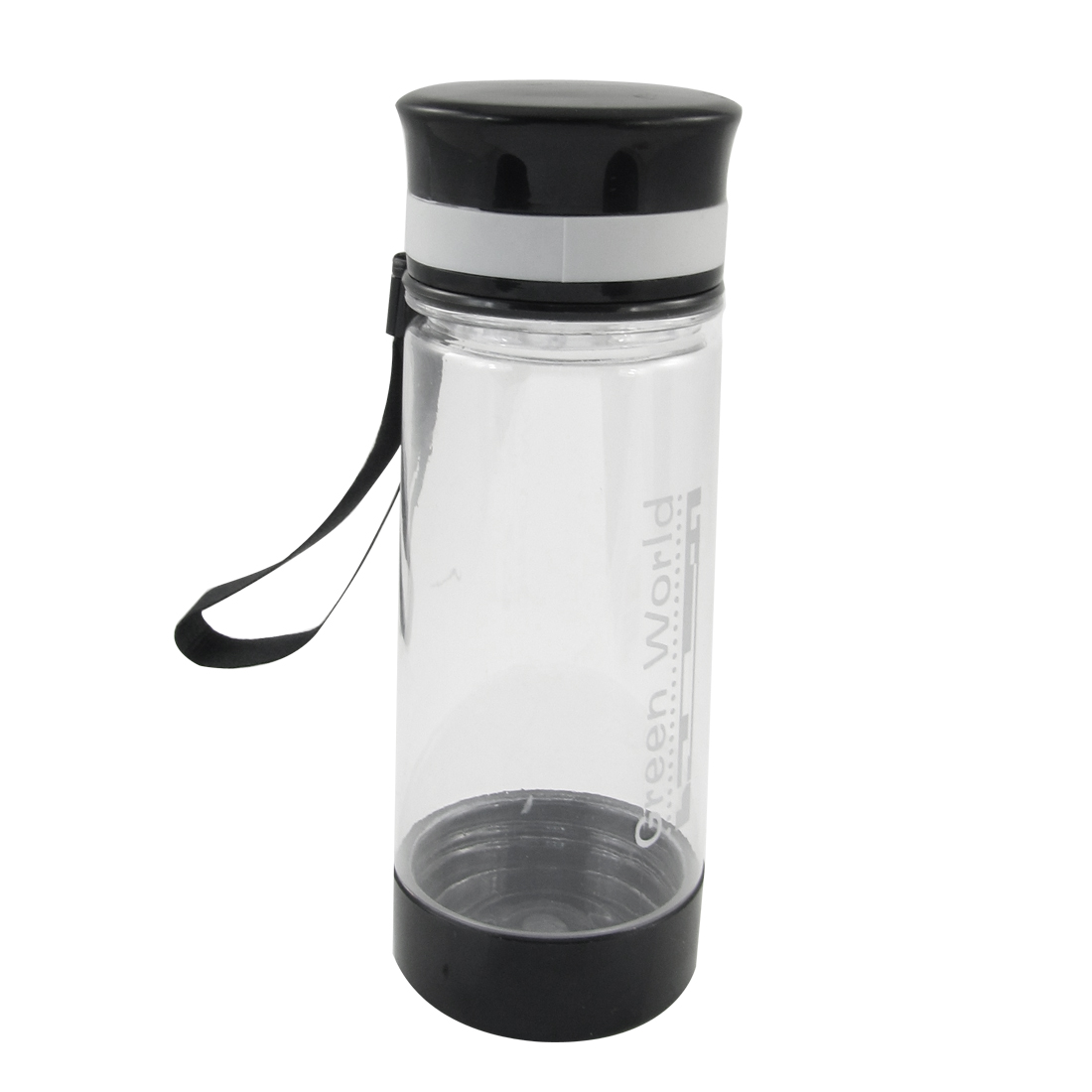 Black Clear Plastic Lid Tea Water Container Drink Bottle Cup 400ml w Strainer