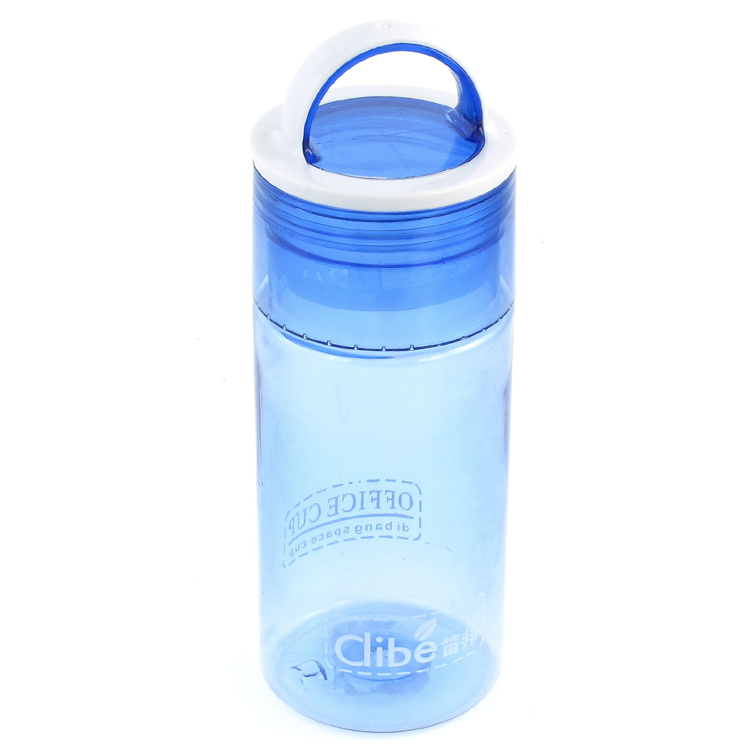 Clear Blue White Handheld Plastic Hiking Travel Sports Water Bottle 400mL