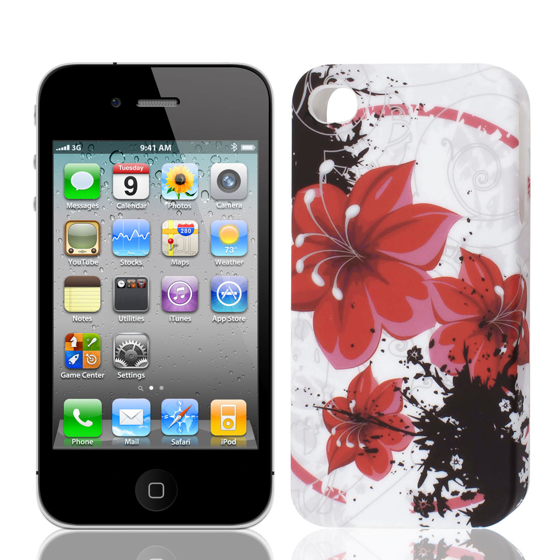 Red Black Blooming Flower Pattern TPU Soft Case Cover for Apple iPhone 4 4S