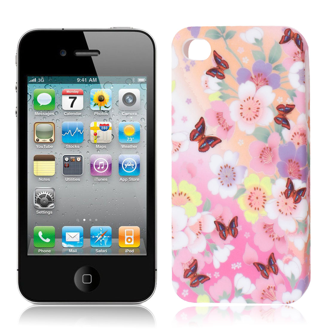 Colorful Flower Butterfly Pattern TPU Soft Case Cover for Apple iPhone 4 4S