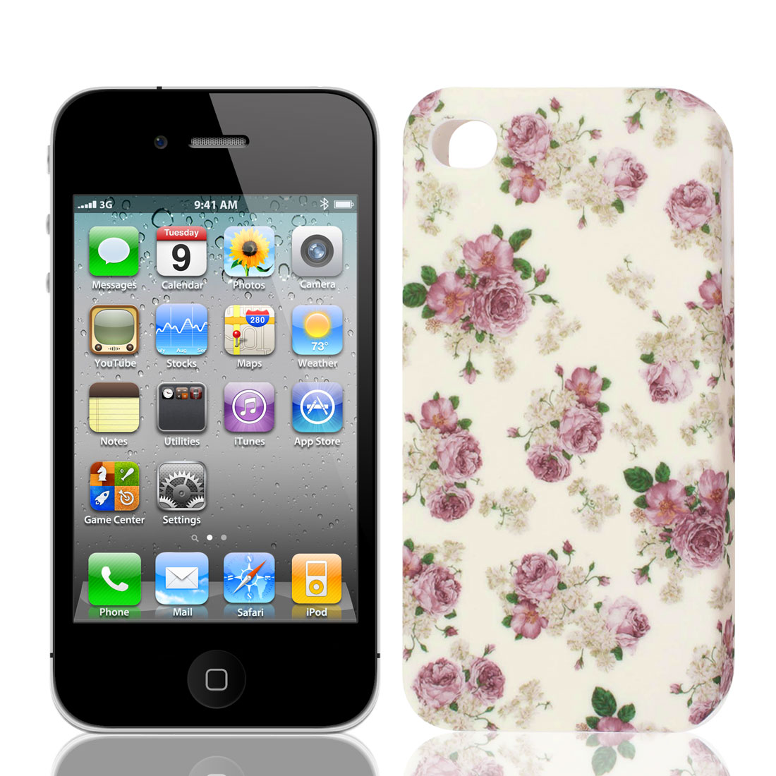 White Pink Blooming Flower TPU Soft Case Cover for Apple iPhone 4 4G 4S 4GS