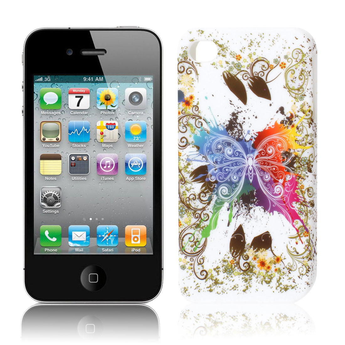 Multicolor Butterfly Flower Swirl TPU Soft Case Cover for Apple iPhone 4 4S