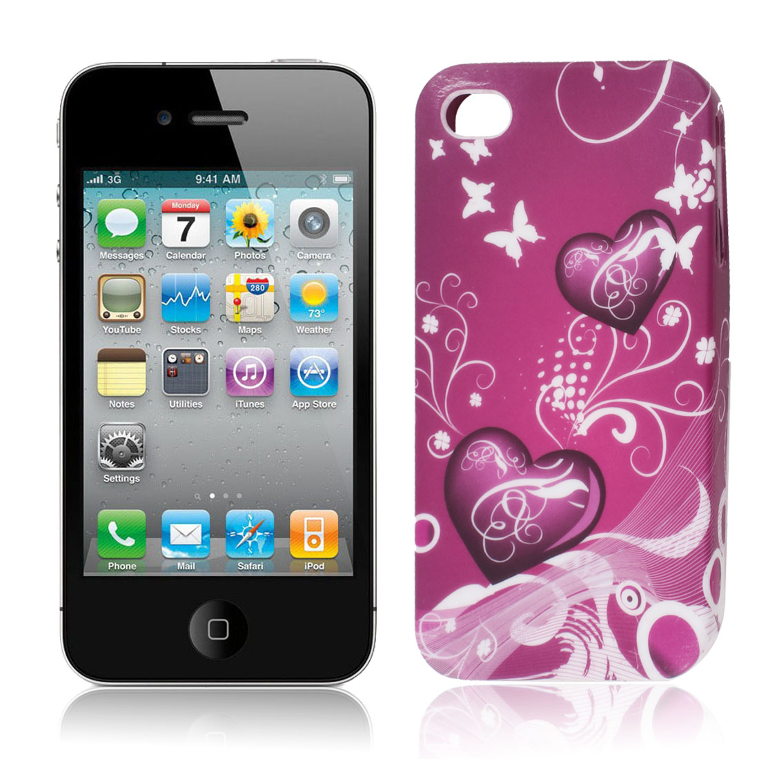 Purple Red White Heart Flower Swirl TPU Soft Case Cover for Apple iPhone 4 4S
