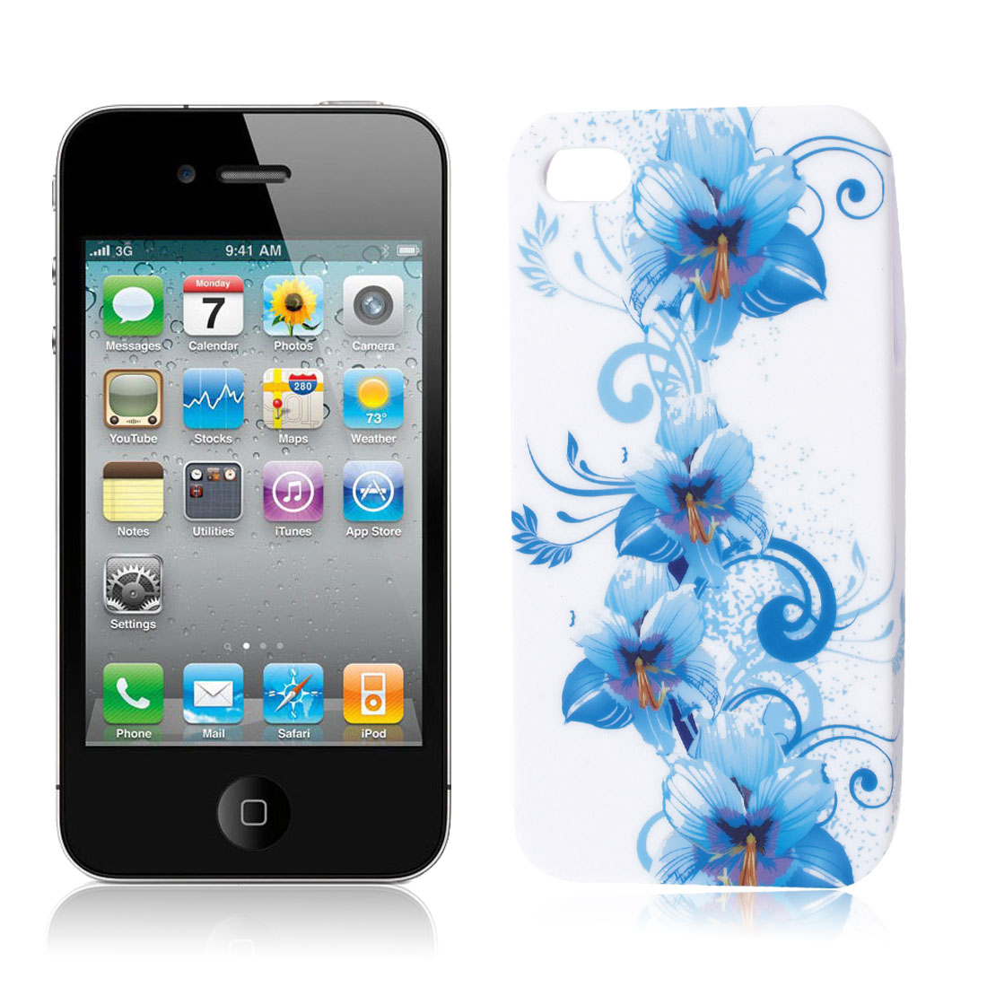 Light Blue Flower Vine White TPU Soft Case Cover for Apple iPhone 4 4G 4S 4GS