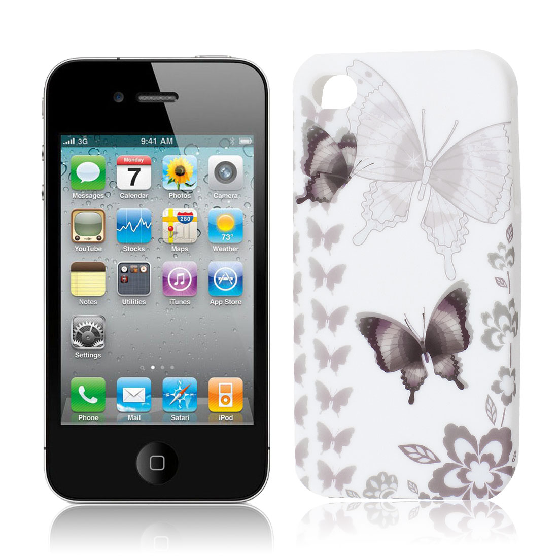 Light Gray White Butterfly Flower TPU Soft Case Cover for Apple iPhone 4 4S