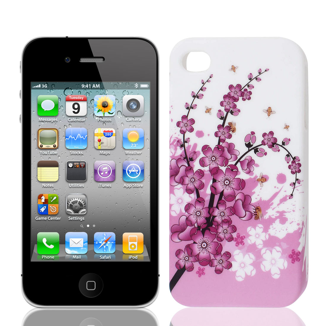 Pink White Plum Flower Branch TPU Soft Case Cover for Apple iPhone 4 4S