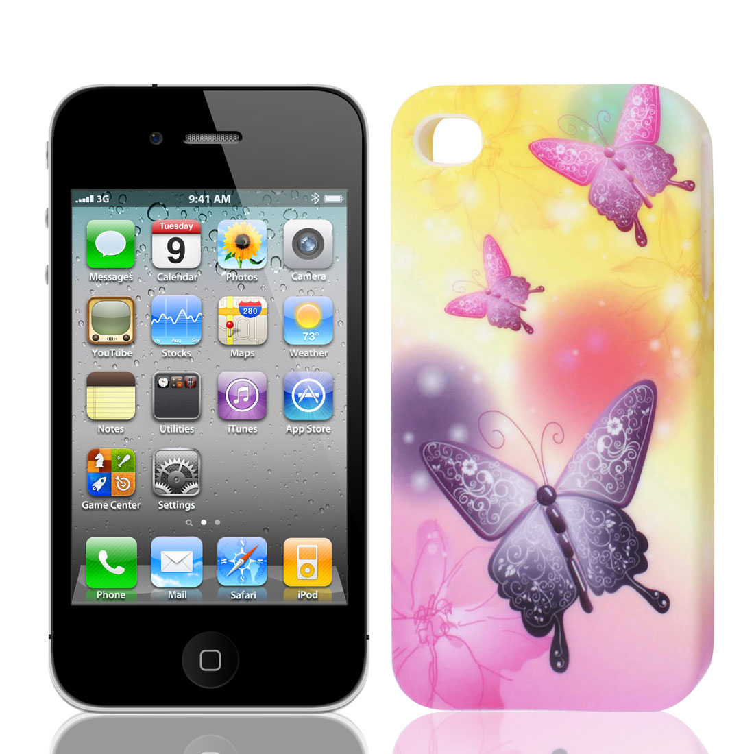 Purple Pink Yellow Butterfly Flower TPU Soft Case Cover for Apple iPhone 4 4G 4S