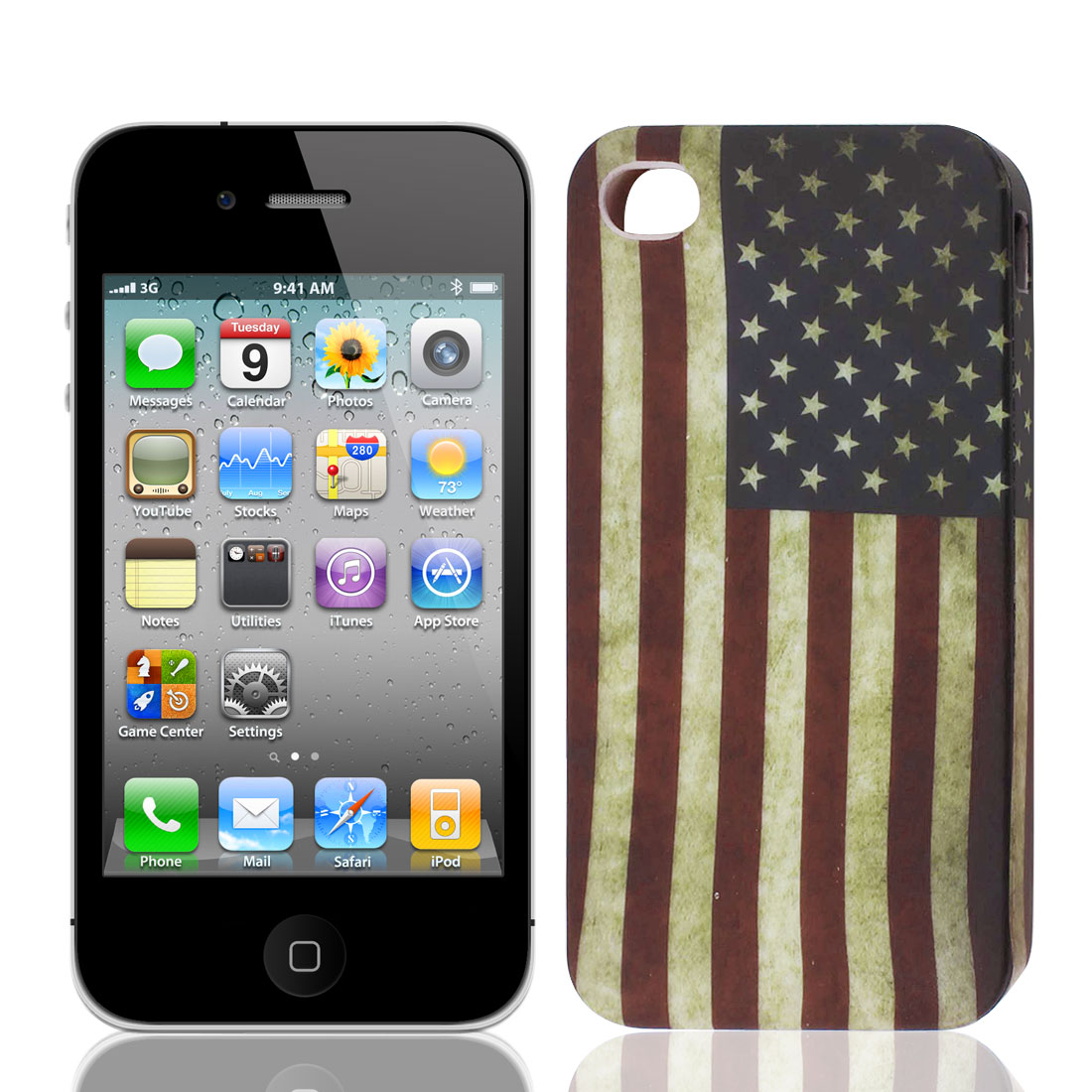 Retro Style United States US Flag TPU Soft Case Cover for Apple iPhone 4 4S
