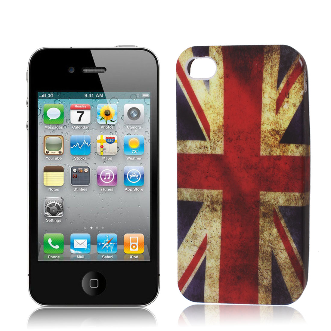 Retro Style United Kingdom UK Flag TPU Soft Case Cover for Apple iPhone 4 4S