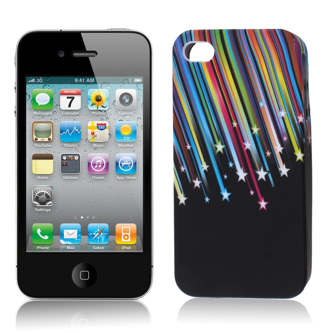 Colorful Meteor Pattern Black TPU Soft Case Cover for Apple iPhone 4 4S