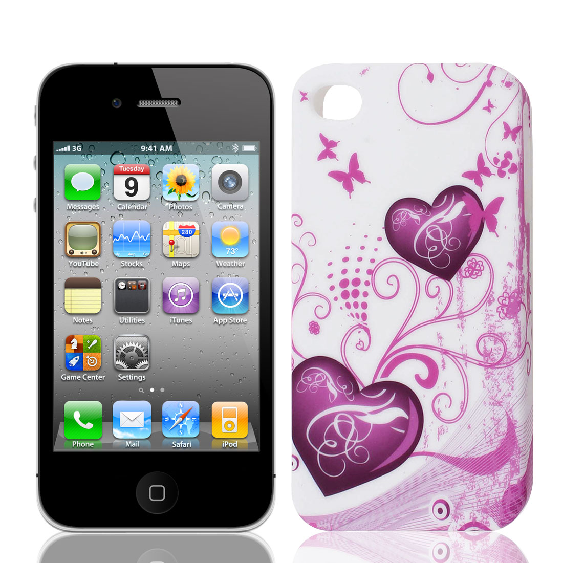 Pink Purple Heart Flower Swirl White TPU Soft Case Cover for Apple iPhone 4 4S