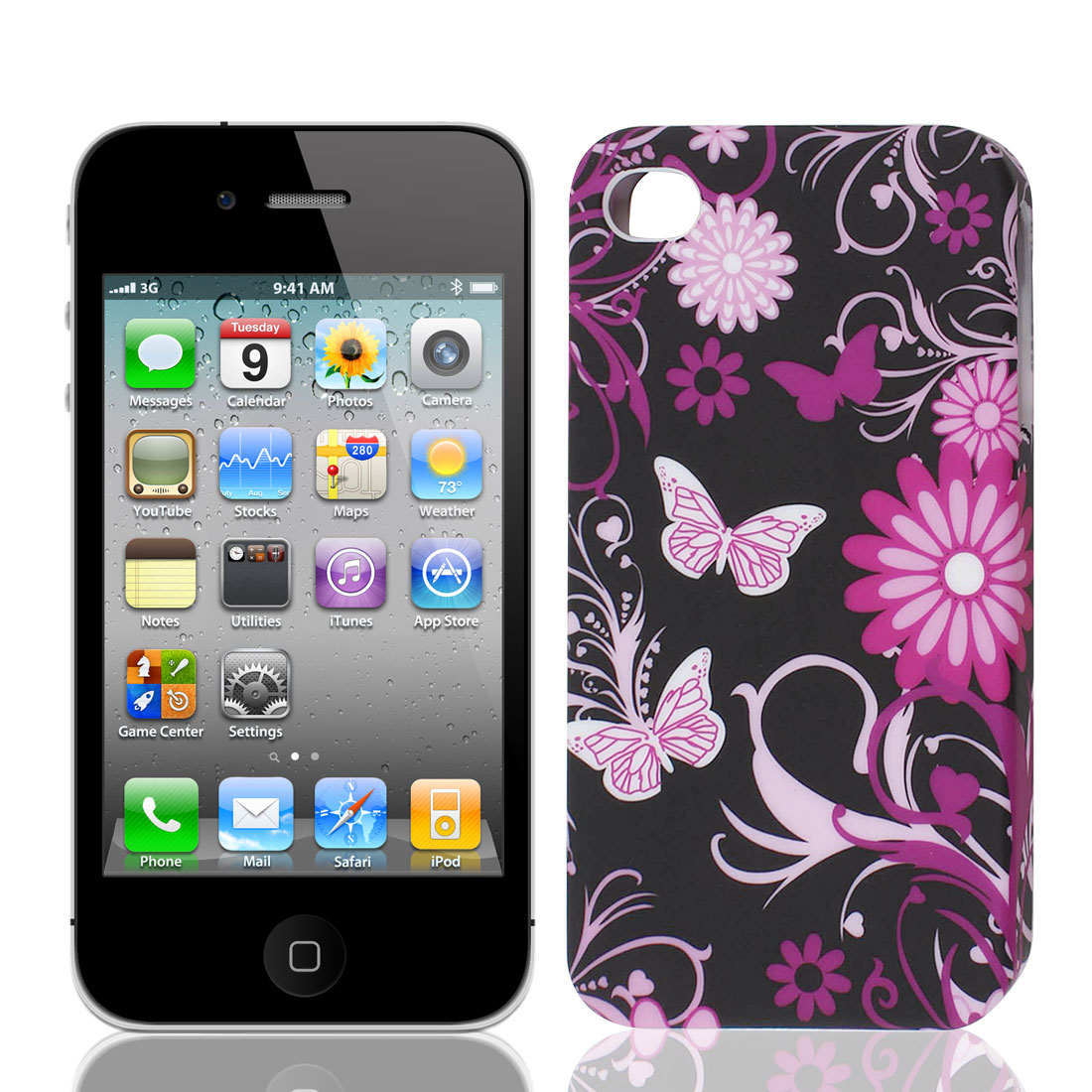 Pink Purple Flower Swirl Black TPU Soft Case Cover for Apple iPhone 4 4S