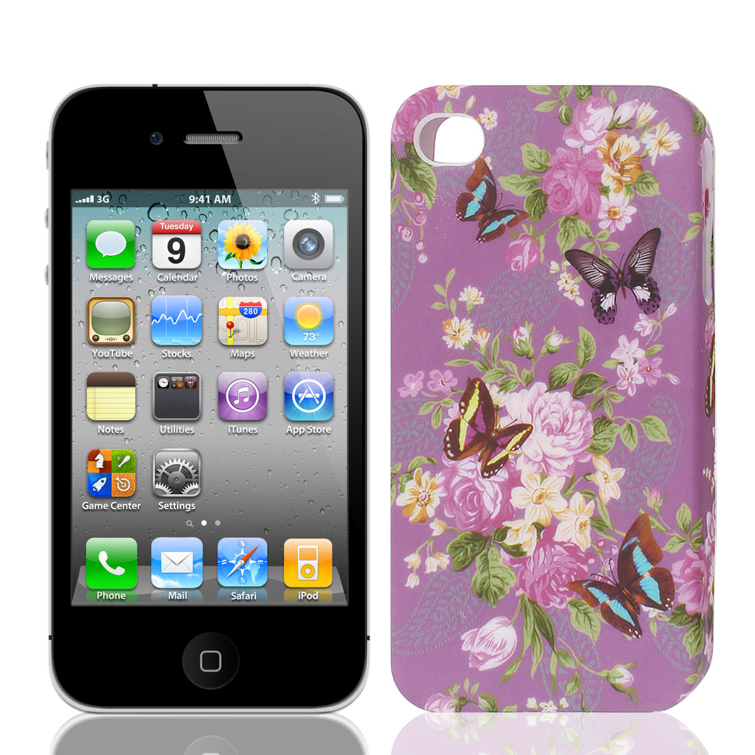 Multicolor Flower Blossom Purple TPU Soft Case Cover for Apple iPhone 4 4S