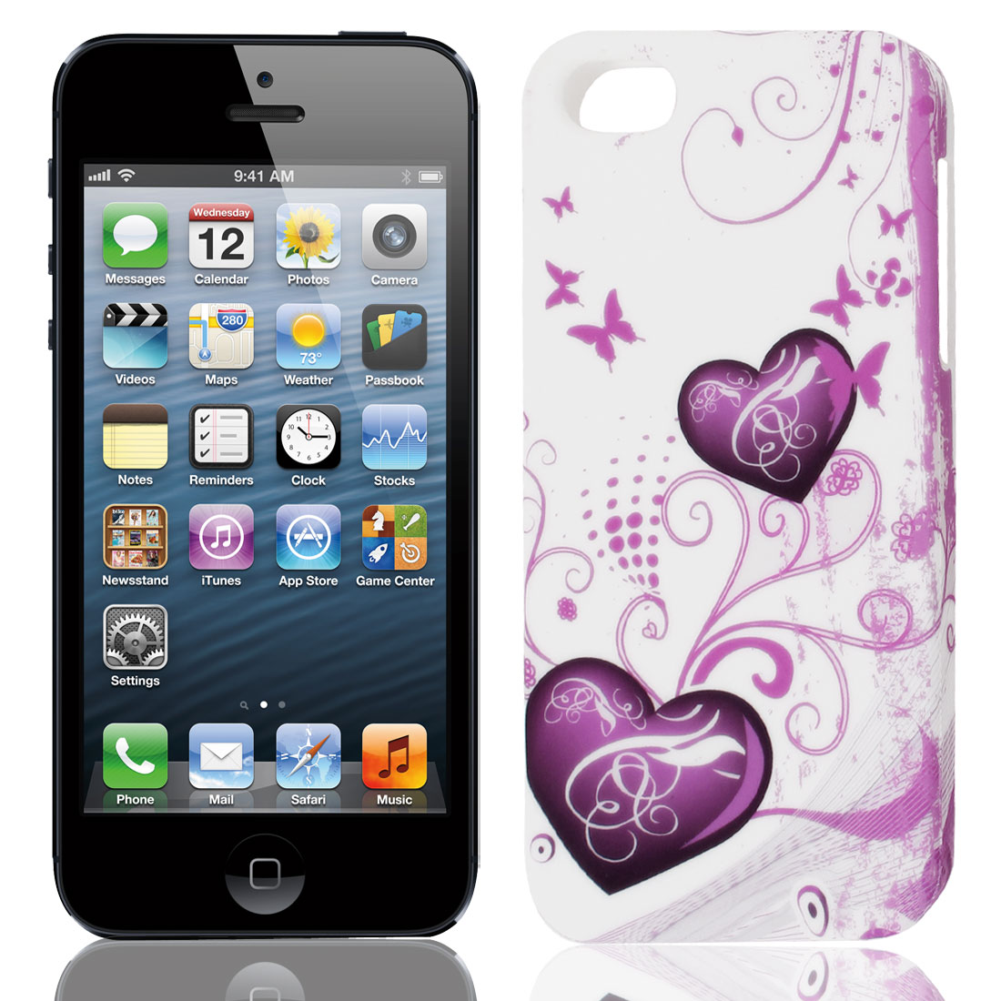 Purple White Butterfly Swirl Heart TPU Soft Case Cover for Apple iPhone 5 5G