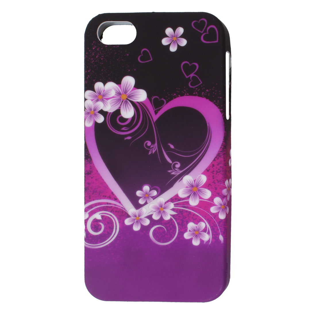 Black Purple Flower Heart Pattern TPU Soft Case Cover for Apple iPhone 5 5G