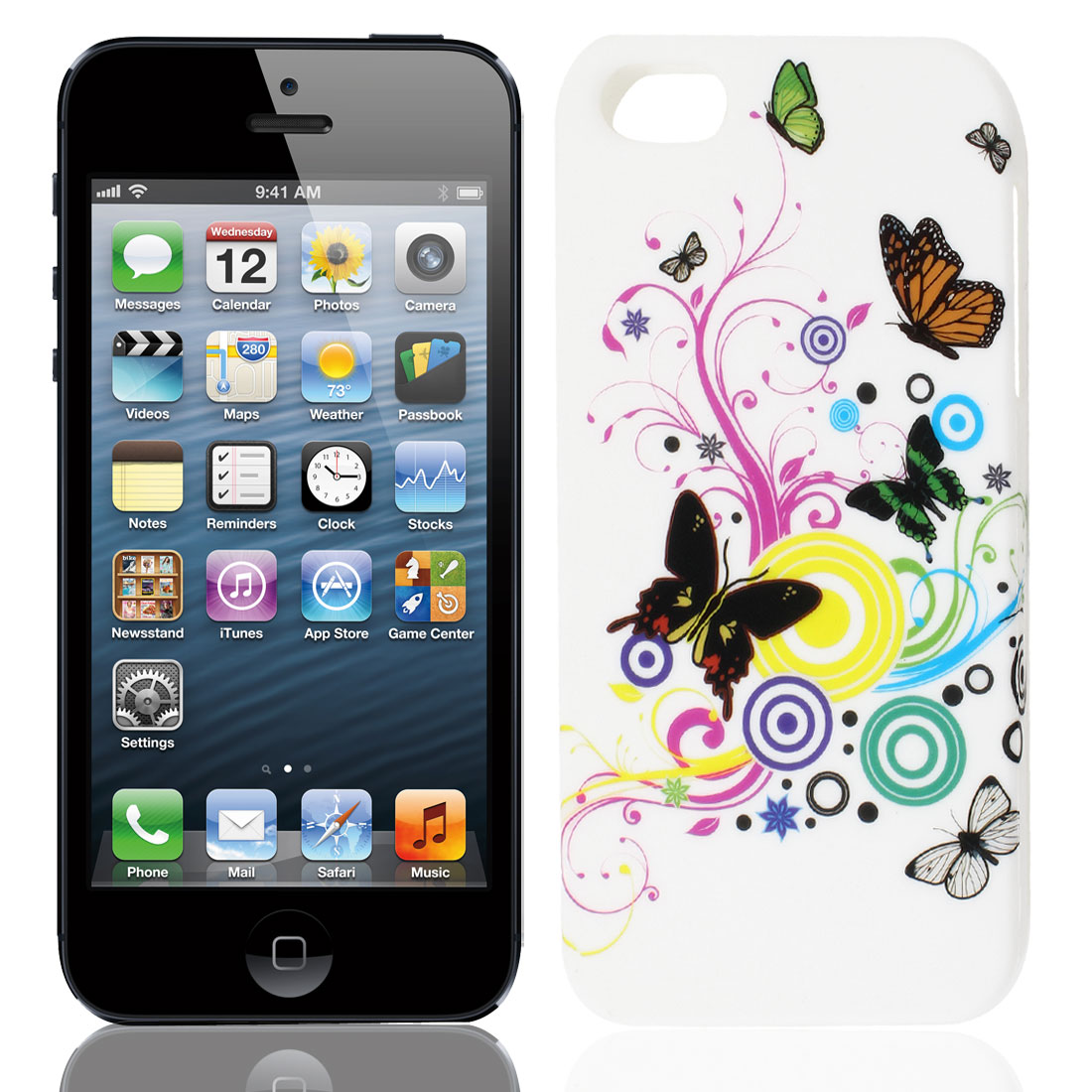 Colorful Butterfly Swirl Circle White TPU Soft Case Cover for Apple iPhone 5 5G