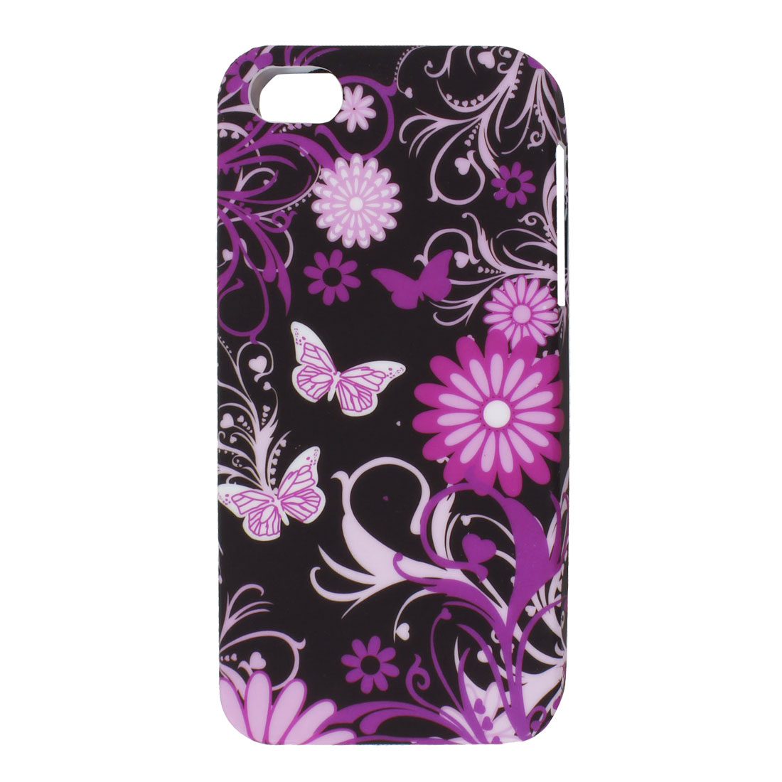 Purple Pink Butterfly Flower Black TPU Soft Case Cover for Apple iPhone 5 5G