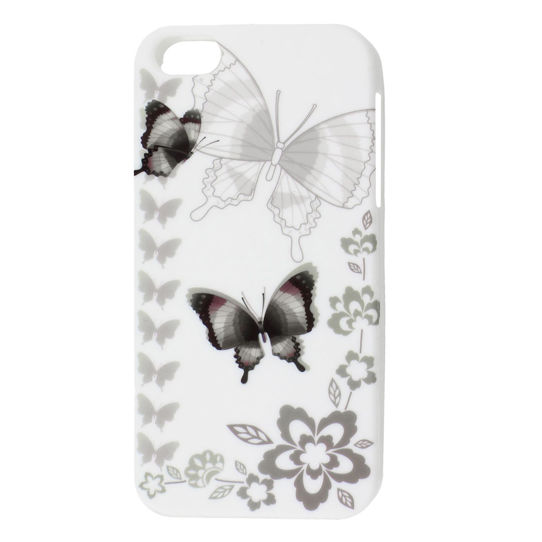 White Gray Butterfly Flower TPU Soft Case Cover for Apple iPhone 5 5G