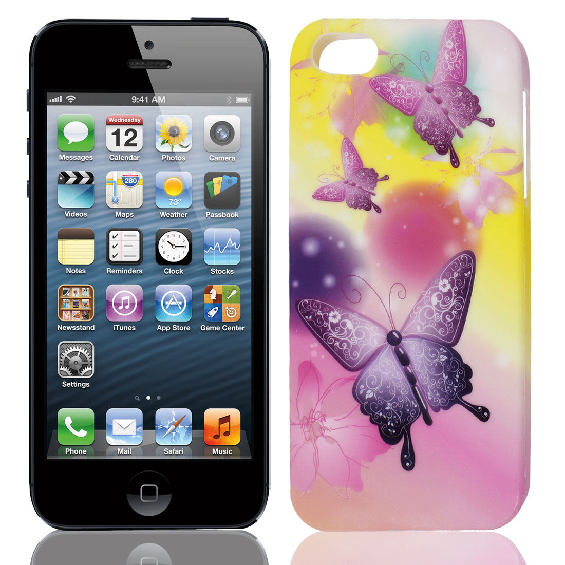 Purple Pink Yellow Butterfly Flower TPU Soft Case for Apple iPhone 5 5G