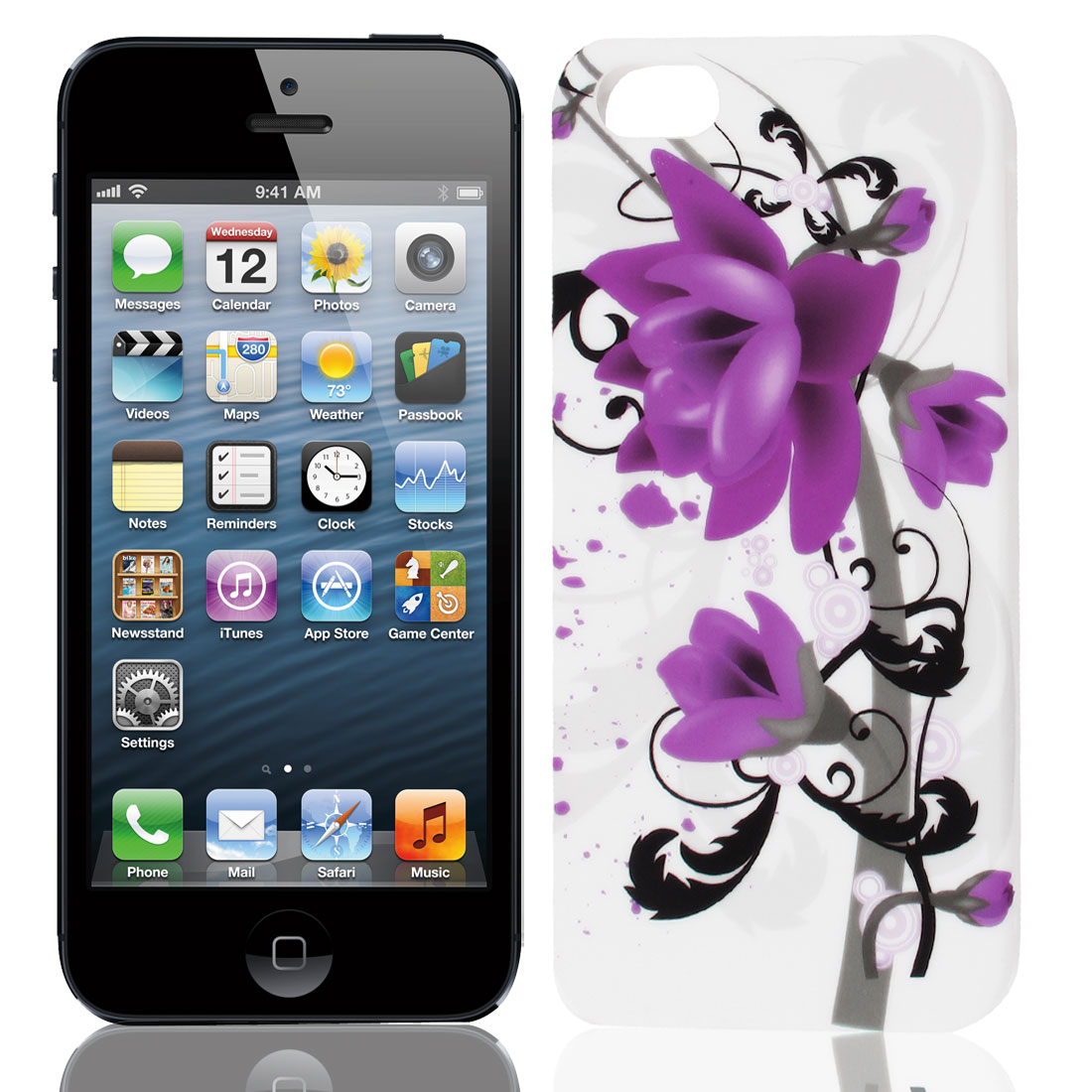 Purple Blooming Magnolia Flower TPU Soft Case Cover for Apple iPhone 5 5G