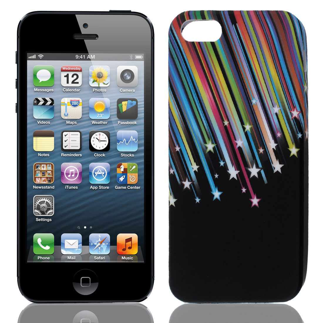 Colorful Meteor Pattern Black TPU Soft Case Cover for Apple iPhone 5 5G